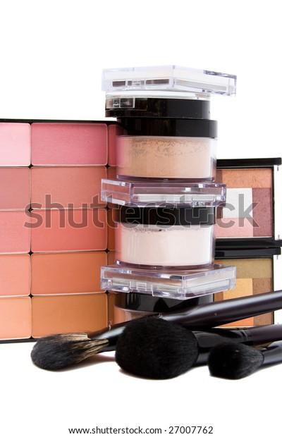 make- up set on white background