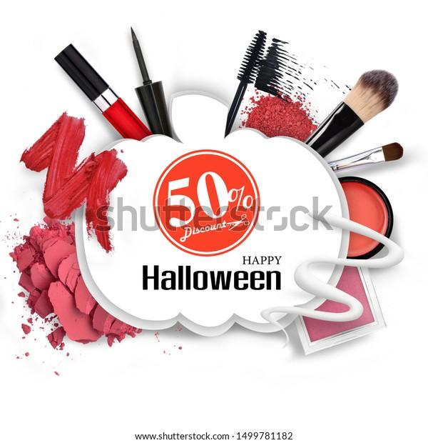 Make Skincare Cosmetics Pumpkin Silhouette Promotion Stock Photo Edit Now 1499781182