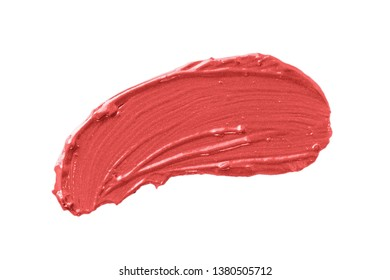make up swatch. Lipstick smear isolated on white background.