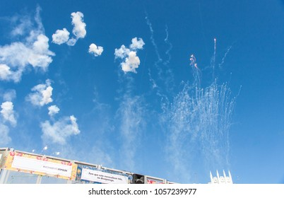 Make that this wonderful cloth don't dissappear. Spur movement. Sparks at Sky, Mascleta at fallas, valencia, spain