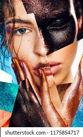 Make up, body art. Composition of women portraits with glitters on face and hands