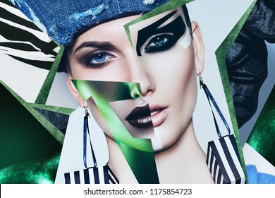 Make up, cosmetics. Portrait of woman in denim hat and green light
