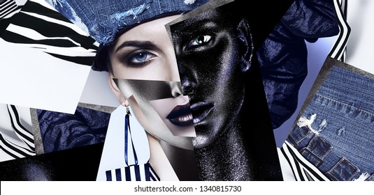 Make up, cosmetics. Portrait of woman in denim hat and striped accessories