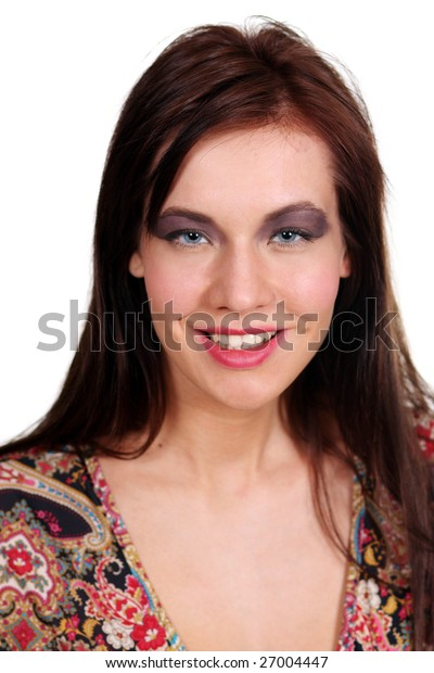 Make up. Fashion portrait of a professional model, isolated on a white background