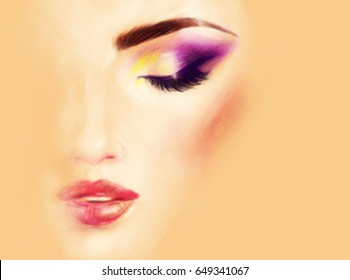 Make up. Woman face. Fashion illustration. Pastel painting
