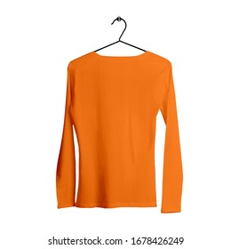 Make your design more luxurious with Back View Long Sleeves Female Tshirt Mock Up With Hanger In Turmeric Powder Color.