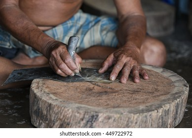 """Maked Shadow Play or in Thailand say """"Nang Yai"""", Nang Yai make by cow skin, him cut cow skin by shape, Shadow Play is a performing art as a Thai heritage"""