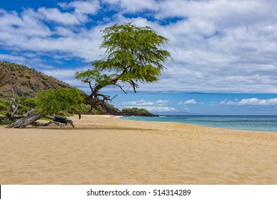 Makena Big Beach near Wailea Maui Hawaii USA on a sunny day with blue water