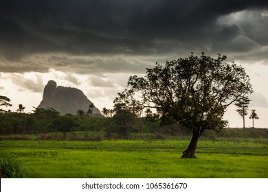 MAKENI, SIERRA LEONE - June 06, 2013: West Africa, the mountain and the forest near Makeni on a thunderstorm day, Sierra Leone