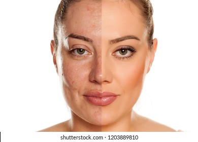 Makeover concept. Woman without and with makeup on white background
