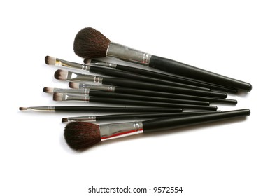 makeuo brushes over white