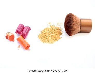 makeup accessories on white background
