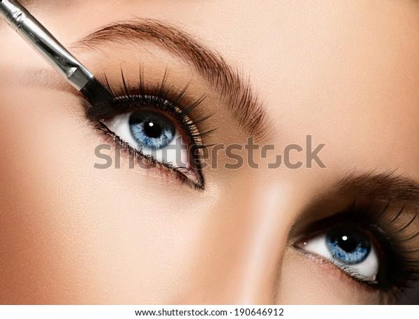 メイクアップ。メイクアップの申し込みの接写。アイライナー。アイエシャドウの化粧。メイク用のアイラインブラシ。完璧な肌をした美人。まつげ。青い目。改装