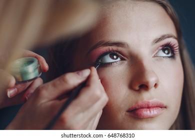 Makeup artist applies makeup. Beautiful woman face. Perfect makeup for a photoshoot