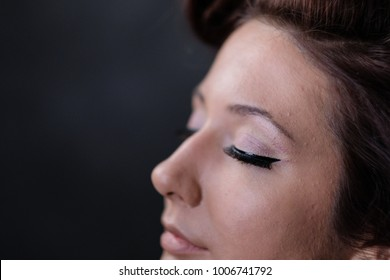 Makeup artist applies eye shadow. Beautiful woman face. Perfect makeup in pinup or pin up style