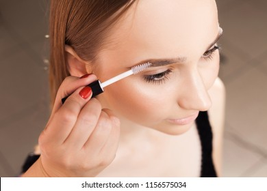 makeup artist applying a brow gel on the eyebrows of a young beautiful woman with flawless nude natural makeup. concept of professional make up training