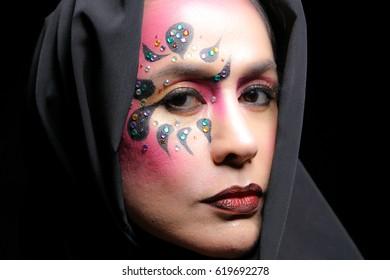Makeup Asian Woman Model High Fashion Closeup Face Portrait artist