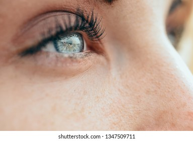Make-up beautiful young woman's blue eyes. Beauty concept.
