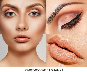 make-up beauty collage, close-up