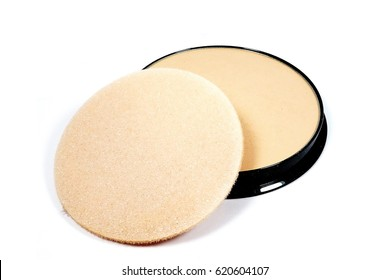 Makeup - beige pressed powder isolated on the white background