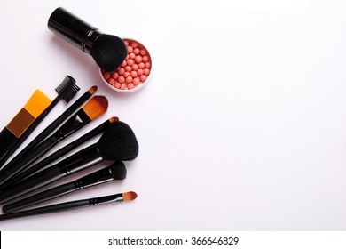 make-up brush, blush at the white background