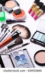make-up brush, eye shadow, blush at the white background