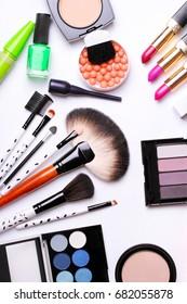 make-up brush, eye shadow, blush on the white background