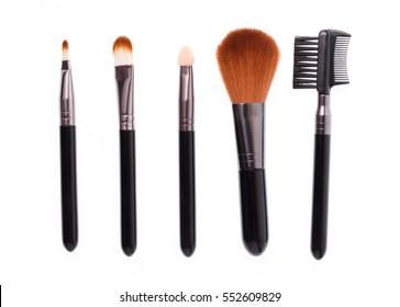 makeup brush set isolated on White Background.