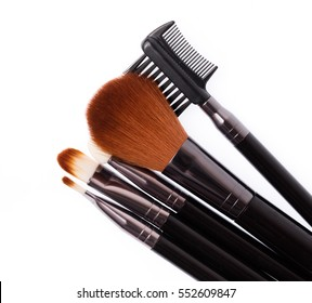 makeup brush set isolated on White Background.