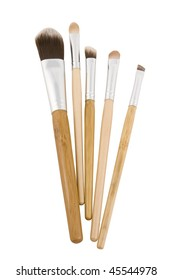 Makeup brushes with bamboo handles