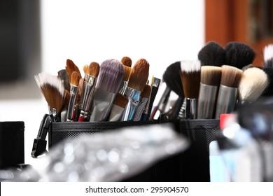 makeup brushes, closeup