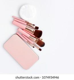 Make-up brushes isolated on white background