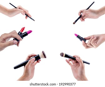 Makeup brushes isolated on white background