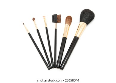 Makeup brushes isolated on white