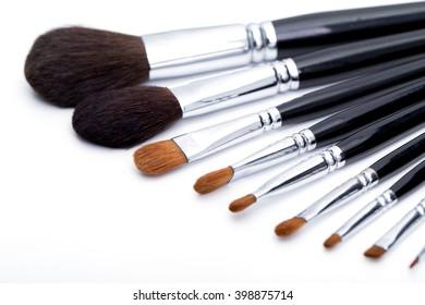Makeup brushes isolated on white background.