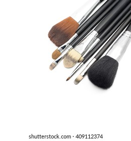 Makeup brushes isolated on white background with copy space