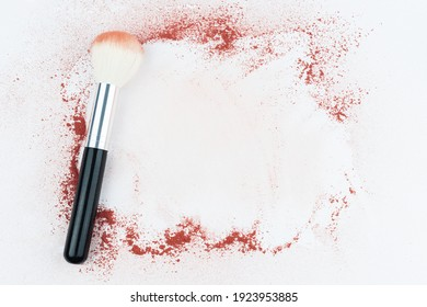 Makeup brushes on background with powder. Make-up background