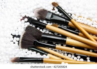 makeup brushes on foam balls