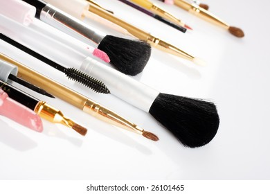 makeup brushes on a white background isolated