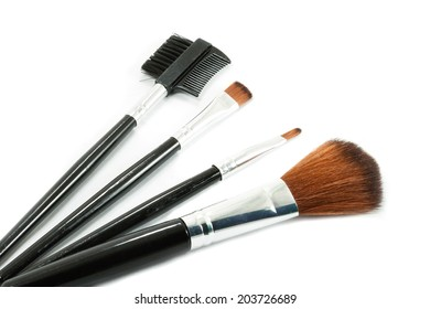 Make-up brushes set isolated on white background.