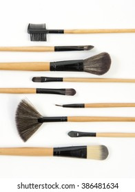 Make-up brushes set isolated on white background