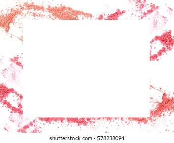 Make-up color frame on white background