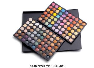 Make-up colorful eyeshadow palette closeup