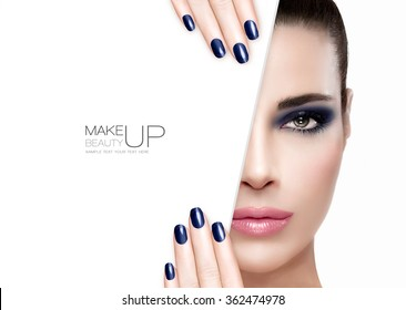 Makeup Concept. Beautiful fashion model girl with smoky eye in blue to match her manicured nails, foundation on a faultless skin with trendy pink lipstick, half face with a white card template.