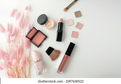 makeup cosmetic product. beauty fashion pink flat lay .