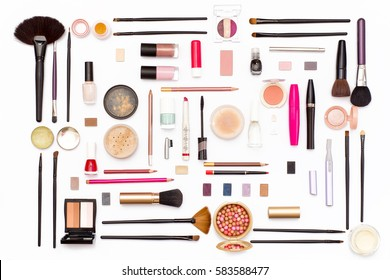 makeup cosmetics, brushes and accessories on white background. Top view. Flat lay. beauty concept.
