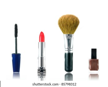 Makeup cosmetics isolated against a white background