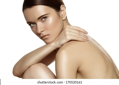 Make-up & cosmetics, manicure. Closeup portrait of beautiful woman model face with clean skin on white background. Natural skincare beauty, clean soft skin, manicure