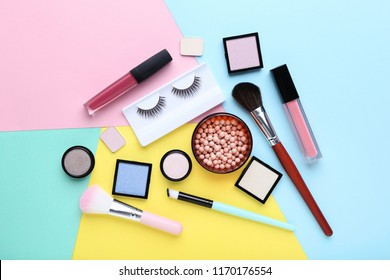 Makeup cosmetics on colorful background