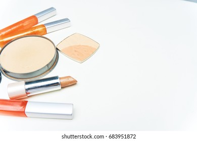Makeup cosmetics on a light background
